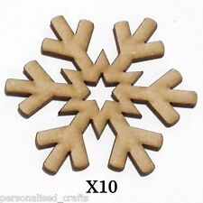 X10 Wooden MDF 80mm Christmas Decorations Snowflake  Embellishments Card Making