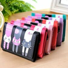 New Womens Cat Pattern Coin Purse Clutch Leather Short Wallet Card Holders OK