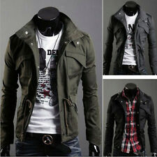 Fashion Mens Military Slim Fit Collar Jacket Coat Zip Button Hoodies Outwear