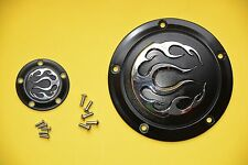 Black Flame Derby +Timer cover for Harley , Dyna Softail Touring