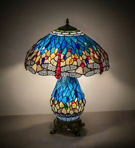 "Meyda Lighting 25"" High Tiffany Hanginghead Dragonfly Table Lamp"