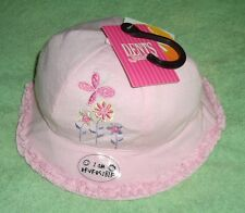 "GIRLS ""DENTS"" REVERSIBLE PINK FLORAL/SPOT SUMMER BEACH SUN HAT 48cm 12-18 Months"