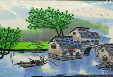 Oriental Silk Thread Embroidered Scenic Picture - Floating Town Green Trees
