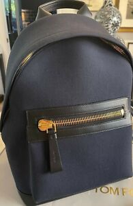 TOM FORD Large Buckley Backpack, New, Dark Blue Canvas and Black Leather