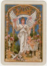 Playing Cards 1 Swap Card Old Vintage Wide WW1 ANGEL of PEACE Flowers DOVE BIRDS