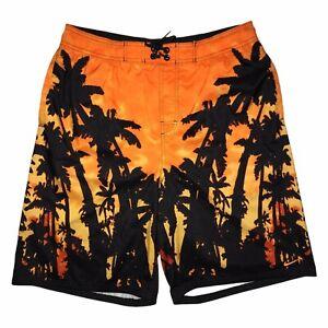 Nike Bright Orange Hawaiian Sunset Palm Tree Swim Trunks Men's L