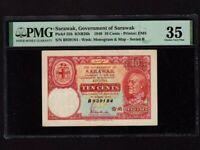 Sarawak:P-25b,10 Cents,1940 * B * C. Vyner Brooke * Uniface * PMG VF 35 *