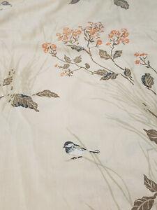 Vintage Pequot No Iron Muslin King Flat Sheet + 2 King Pillow Case Bird Floral