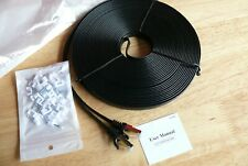Cat 7 Shielded Ethernet Cable 75 foot High bit rate super quality FLAT + Clips
