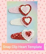 5cm snap clip cover & hearts hair bow plastic template