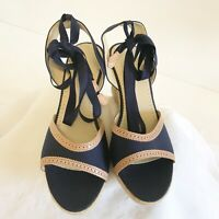 J Crew Womens Wedge Espadrilles Sandal 10 Navy Blue Tan Lace Up Strap Shoe Italy