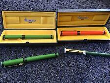 Vintage Waterman Forum Fine Fountain Pen Lot Green/Black & Cream Orange/Black