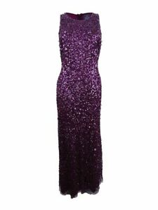 Adrianna Papell Women's Petite Sequined Mesh Gown (10P, Cassis)