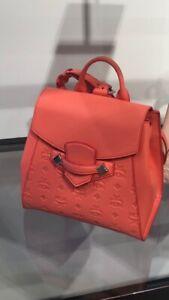 MCM $950 MCM Klara Essential Monogram Leather Backpack In Hot Coral