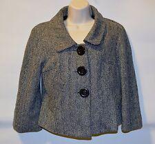 NEW Luii Anthropologie Women's M Herringbone Cropped Mod Jacket, 3/4 Sleeves