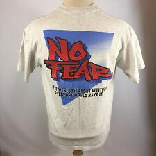 Vintage 90s Grunge Surf Skate No Fear Sports Attitude Big Logo T Shirt Usa Gray