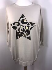 Star Tunic Top Gold Metallic Foil Zips Stretchy Tunic Plus Size 16-22 Long NEW