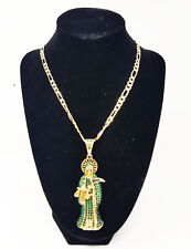 Green Santa Muerte Necklace Holy Death Chain & Pendant Grim Reaper Jewelry