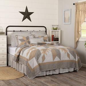 "VHC Brands Dakota Star Farmhouse Blue Queen Quilt Patchwork Bedding 90x90"""