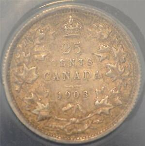 1903 EF 40 ANACS graded Canada Twenty-Five Cents