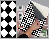 SELF ADHESIVE DOLLS HOUSE WALLPAPER 1/12th VINYL SHEET Black Diamond Floor - 43