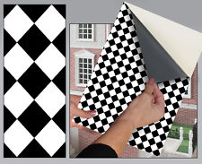 Self Adhesive Dolls House Wallpaper 1/12th Vinyl Sheet Black Diamond Floor - 43