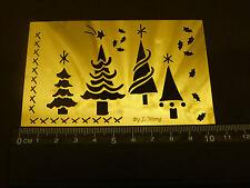 Brass / Multi / stencil / Emboss / Xmas / Tree / Holly /  Christmas