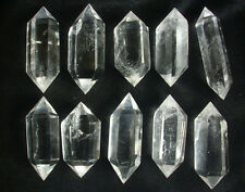 10 NATURAL CLEAR QUARTZ CRYSTAL DOUBLE POINTS POLISHED HEALING.Wholesales Price,