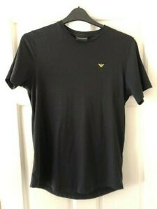 Black EMPORIO ARMANI designer Mens T-shirt with Gold embroidered vector logo - M