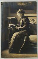 Rppc Older Woman Reading, Geneva Sexton Brown Melrose Florida 1915 Postcard O1