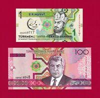 BEAUTIFUL TURKMENISTAN UNC NOTES: 1 Manat 2017 (P-22),  & 100 Manat 2005 (P-18)