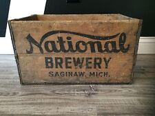 Very Rare Vintage National Brewery  Wood Soda Pop Beer Crate Case Saginaw Mi