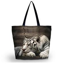 White Tiger Handbag Large Capacity Shopping Tote Shoulder Beach Bag Washable