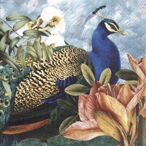 20 Servietten, Serviettentechnik Paradise Peacock Pfau IHR, 33x33