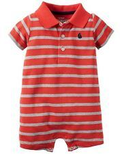 Carters New Baby Boy Newborn Red Orange/Gray Sailboat Striped Romper Outfit