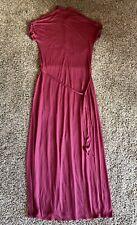 Jigsaw Size M 12 14 Burgundy Red Short Sleeve Casual Maxi Jersey Shirt Dress