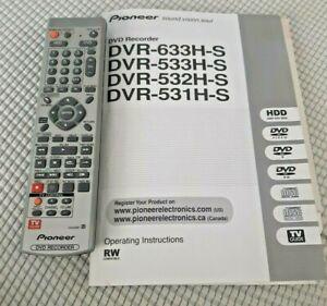 PIONEER VXX2967 DVD Recorder Remote DVR531HS DVR533HS DVR633HS Tested W manual
