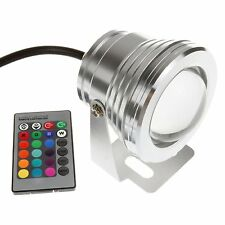 FARO FARETTO LED RGB 10W IP67 ESTERNO WATERPROOF 12V 220V + ALIMENTATORE LUCE MU