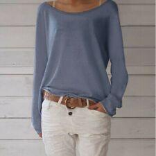 bce1b04d014586 Womens Autumn Knit Shirts Loose Long Sleeve T Shirt Crew Neck Top Blouse  Jumper