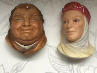 Vintage Bossons X2 Friar Tuck/maid Marian Chalkware Collectable