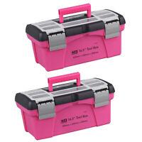 2 x Portable Tool Box Plastic Storage Pink Lady Inner Layer Toolbox