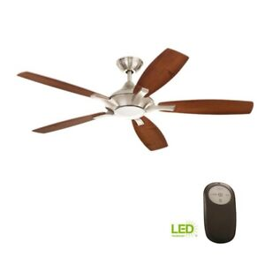 Home Decorators Petersford 52 in. LED Brushed Nickel Ceiling Fan with Remote