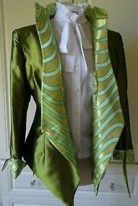 OLIVE GREEN SILK BLEND OCCASION JACKET FIT UK 6