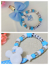Set of 2 Personalised stunning mickey mouse dummy clip + Pram charm in blue boys