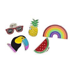 Brille Wassermelon Ananas Anstecknadel Regenbogen Brosche Rabe Brooch Schmuck