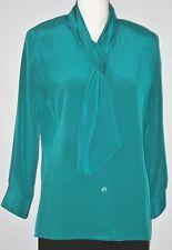 COMO Petites Size 6P Green Button Down Long Sleeve Blouse