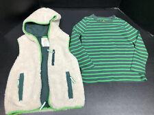 Mini Boden Boy's Cream Fuzzy Sherpa Vest And Green Stripe T-Shirt Size 6-7