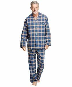 Brooks Brothers Plaid Flannel Pajamas XL Matching Shirt Pants Blue Khaki