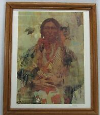Native American Quanah Parker Comanche Chief Signed Picture Lithograph Painting