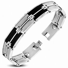 Bracelet with Link Panther Stainless Steel with Rubber Black 166
